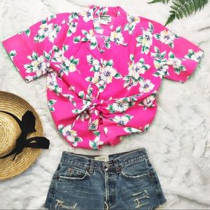 Neon Pink Vintage Hawaii Button Up Shirt Size L